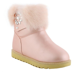 YE Women's Flat Heel Platform Slip on Round Toe Snow Boots with Gliter Rhinestones Faux Fur Short Ankle Boots Sweet Cute Warm Comfortable Shoes