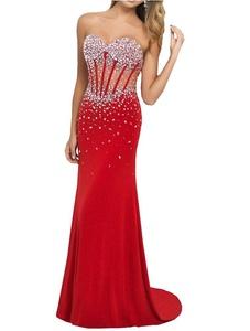 YinWen Women's Sweetheart Sheath Beaded Bust Strapless Chiffon Formal Prom Dress Size 8 US Red