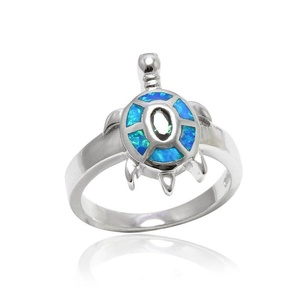 Turtle Ring Oval Rainbow Cubic Zirconia Lab Created Blue Opal 925 Sterling Silver