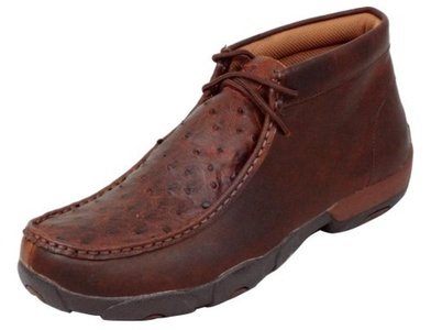 Twisted X Men's Full-Quill Ostrich Driving Mocs Saddle Brn 11 D(M) US by Twisted X
