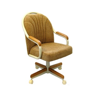 Casual Rolling Caster Dining Chair with Oak Arms and Harvest Chenile Fabric Seat and Back (1 Chair)