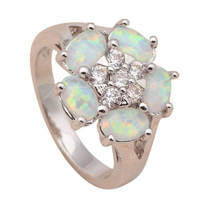 FT-Ring charms flower design White fire Opal Jewelry For Women Engagement Wedding Bridal Rings (8)