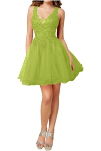 Avril Dress Elegant Lace A-Line Cocktail Bridesmaid Double V Neck Dress New-16-Olive
