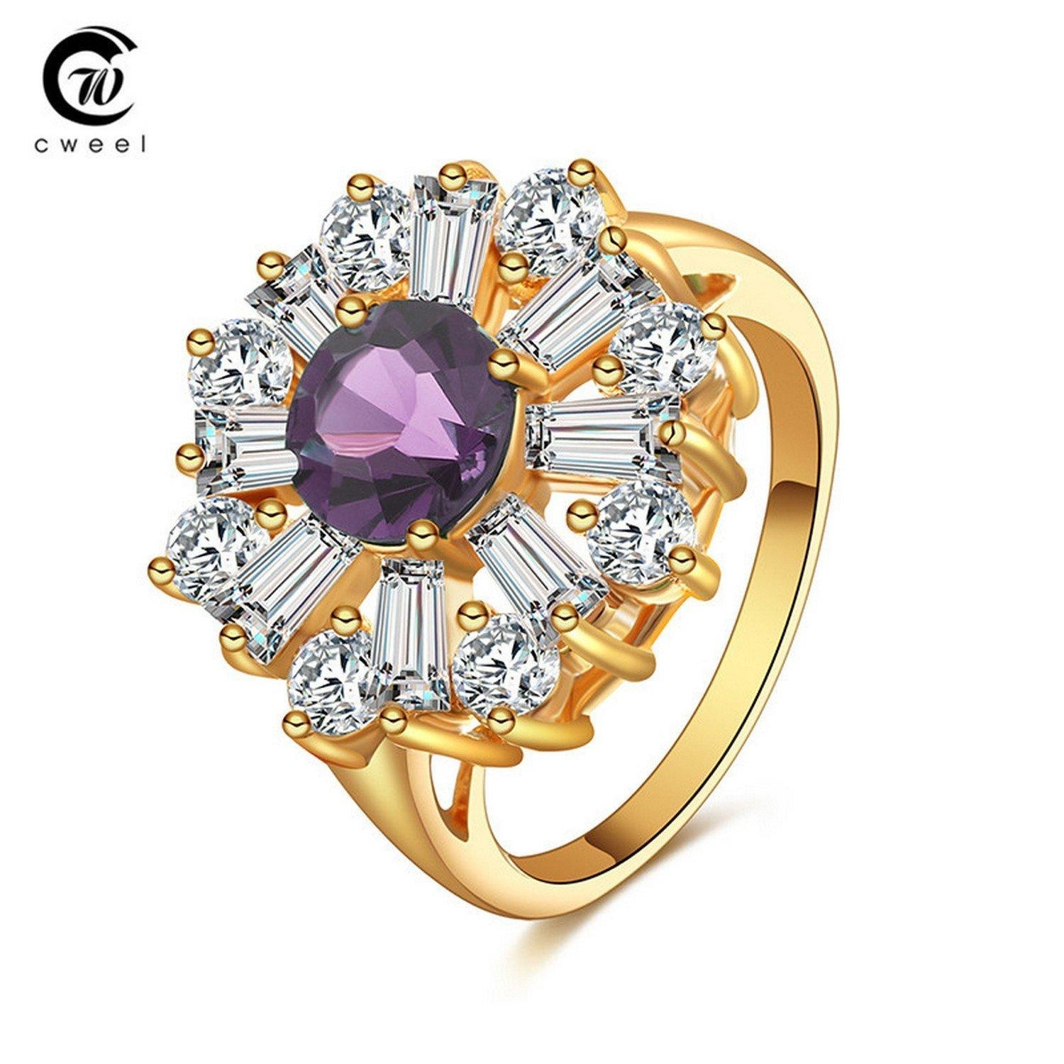 Slyq Jewelry Wedding Ring Gold Plated Crystal CZ Summer Style Bridal Holiday Zircon Fashion Jewelry Ring