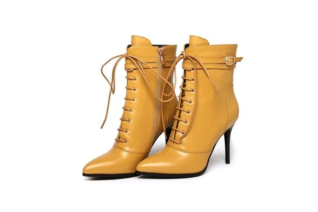 Women's Stiletto High Heel Pointed Toe Ankle Buckle Lace-up Genuine Leather Ankle Boots (5.5, yellow)
