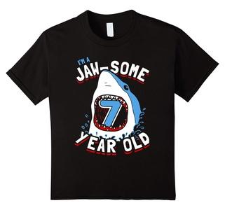 Kids 7th Birthday Boys Shark T-Shirt | Jaw-some 7 Year Old 6 Black