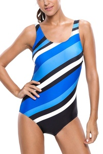 Dokotoo Womens Bluish Oblique Stripes One Piece Swimsuit Swimwear Medium