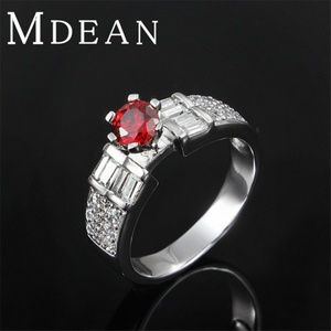 Slyq Jewelry Vintage Wedding Ring Platinum Plated Jewelry zircon luxury Engagement bague ruby stone