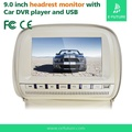 E-future 9 inch Widescreen Single Universal Headrest Monitor with DVD player, FM Game Disc Mp3 IR Headphones