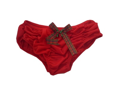 HC349 RED X'mas Handmade Bow Lace Knickers Panties Underwear Women Nylon Briefs (XL)