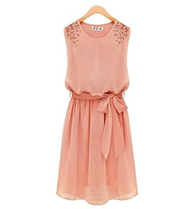 Summer Pearls Beads Shoulder Chiffon Beledt Pleated Dress large pink