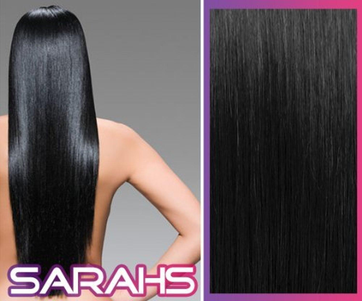 22 inch Jet Black (1). Full Head. Clip in Synthetic Hair Extensions. by Sarahs Hair Extensions