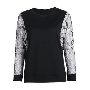 Diamondo Women Bat Sleeve Lace Long Sleeved O-neck T-shirt Female Tops (Black, Asian M)