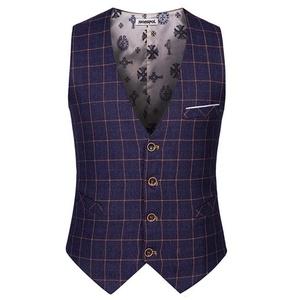 Fire Land Men's Business Suit Vest New Business British Plaid Style Waistcoat (M, B)