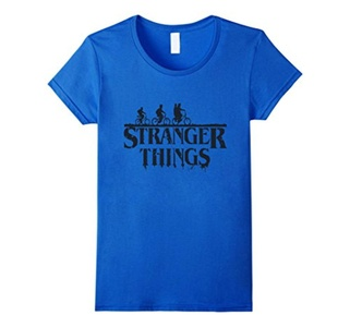 Women's Stranger are Things T Shirt Small Royal Blue