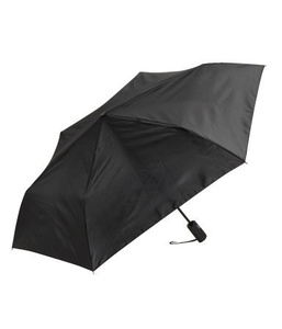 Telescopic Handle Polyester Black Umbrella