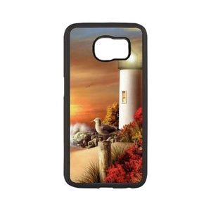 Samsung Galaxy s6 edge Case,WXCVBN Rugged Black Lighthouse Print Cover Case Skin for Samsung Galaxy s6 edge (5.1 inch)