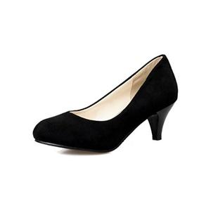 VASHOP Women's Round Toe Kitten Heel Pumps Chunky Heel Court Shoes,Beige/4.5