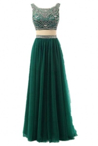 Winnie Bride Gorgeous Two Pieces Prom Dress Rhinestones Formal Evening Gala Gown-20W-Dark Green