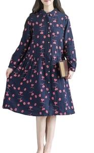 Plaid&Plain Women's Cotton&Linen Loose Long Sleeve Front Button Stylish Dress C-Navy blue 4