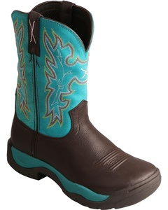 Twisted X Women's All Around Turquoise Cowgirl Boot Round Toe Chocolate 6.5 M US