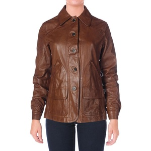 LRL Lauren Jeans Co. Womens Leather Long Sleeves Basic Jacket