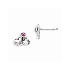 .925 Sterling Silver 8 MM Children's Preciosca Crystal Heart Post Stud Earrings