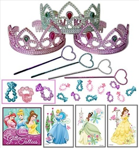 Princess Party Favor Pack - 36 Pc (12 Tiaras, 12 Mini Star Wands, 12 Princess Disney Tattoos) by Multiple
