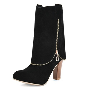 Fashion Heel Nubuck Women's Chunky Heel Round Toe Zip Mid Calf Boot (10, black)