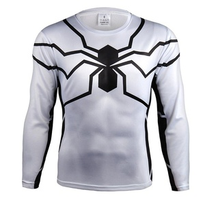 3D White Spider Man Superhero Cosplay Quick-dry Sports Shirt Gym Cycling Jersey