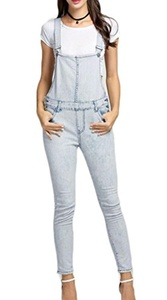 Qearl Junior's Slim Bleached Overalls High Waist Suspender Jeans Skinny Denim Jumpsuits (M, White)