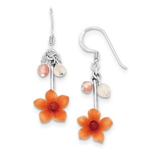 .925 Sterling Silver 34 MM Rose/Cherry Quartz & Carnelian Dangle Flower Sheperds Hook Earrings