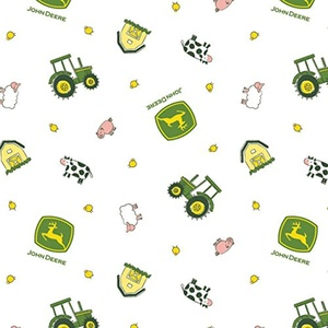 John Deere Animal Toss Tractor Barn Cow Sheep Chicken Pig White Fabric From Springs Creative By the Yard
