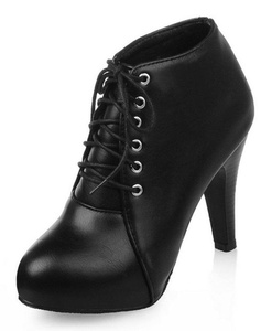 Sfnld Women's Sexy Pointed Toe High Stiletto Heel Lace Up Ankle Bootie Black 6.5 B(M) US