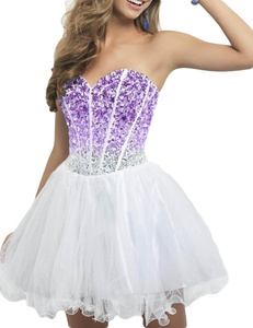 Favors Women's Short Beading Homecoming Dress Tulle Prom Gown Purple 4