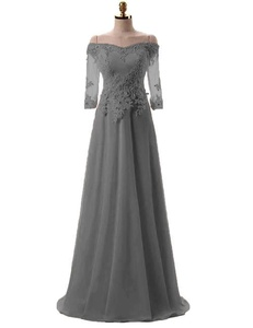 OYISHA Women's Off Shoulder Lace Half Sleeve Prom Dress Long Evening Gowns Gray 18W