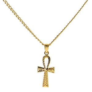 Genuine Stamped 10K Yellow Gold Cuban Curb Link Chain Small Charm Pendant Necklace [ASSORTED SETS] (Ankh Cross + 24 Inches Necklace)