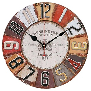 Vintage Look Silent Wooden Wall Clock Home Decoration