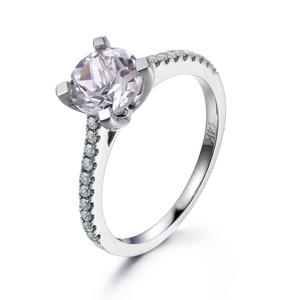 Round Cut Topaz Engagement Ring,14K White Gold Wedding Ring,Diamond Promise Band,Handmade Jewelry