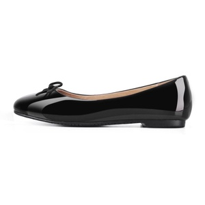 JOOGO Women Round Toe Flats Patent Leather Lined Flat with Cute Bow Dress shoes Black US Size 12