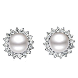 TMCO 925 Sterling Silver Freshwater Cultured Pearl,Sunflower Stud Earrings