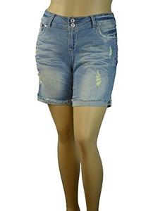 Alfa Global Women's Plus Size Stretchy Distressed Denim Shorthy Short (18, Blue5381)