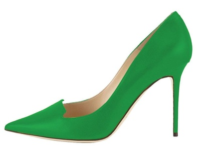 Maovii Women's Elegant Big Size Simple Style High Heel Pointed Toe Cut-Out Office Pump Shoes 6 M US Green