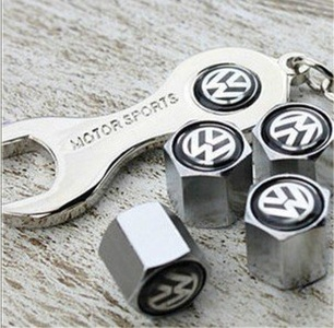! Steel Car Air Tire Valve Caps with Keychain Combo Set for Volkswagen by Volkswagens