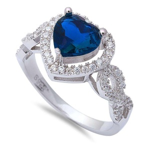 Infinity Shank Halo Heart Promise Ring Deep Blue Simulated Sapphire Round Clear CZ 925 Sterling Silver