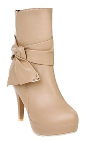 CHFSO Women's Fashion Stiletto Solid Round Toe Bow Zipper High Heel Platform Ankle Boots Apricot 6.5 B(M) US