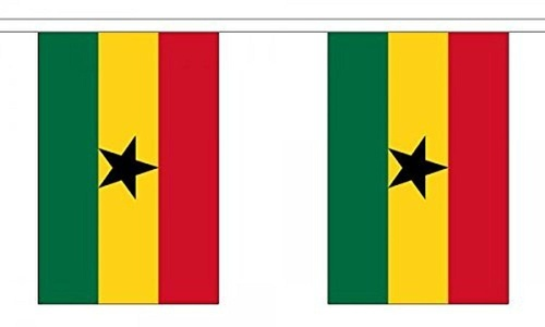 Ghana Bunting 9M Metre Length With 30 Flags 9X6 100% Woven Polyester by Ghana
