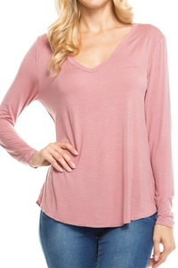 KLKD Women's Solid V Neck Long Sleeve Top Tunic Rose Small