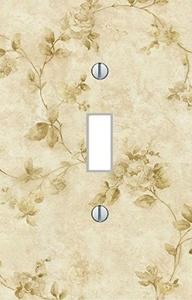 Single Light Switch Plate cream colored flowers vintage art living room bedroom kitchen dining family room modern floral art Home Decor USA made