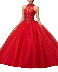 YinWen Women's Halter Lace Applique Beaded Prom Quinceanera Dress Ball Gown Size 12 US Red